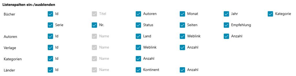 Buchliste Software Einstellungen