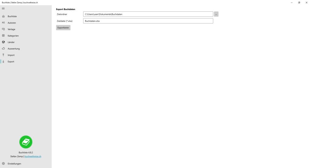 Buchliste Software Export